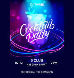 cocktail party hand written lettering flyer vector image