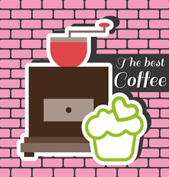 Coffee mill with a green cake with heart on top vector image