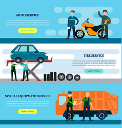 colorful repair services horizontal banners vector image