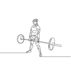 continuous one line drawing powerlifter perform vector image