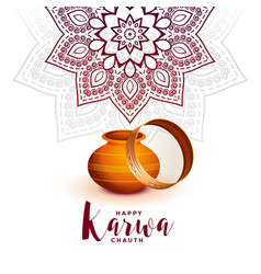 creative karwa chauth festival greeting with vector image