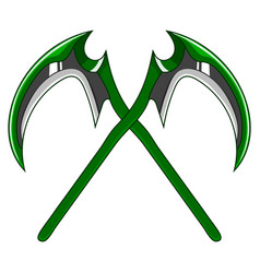 Crossed cartoon green weapon scythe vector