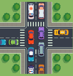 crossroad top view city car traffic top viewing vector image