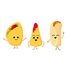 Cute funny corn taco burrito and nachos vector