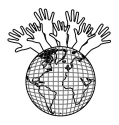 Earth planet connection hands up vector