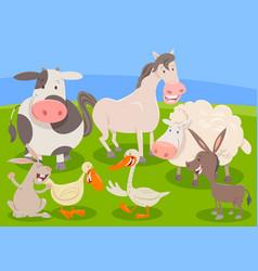 Farm animal characters group cartoon vector