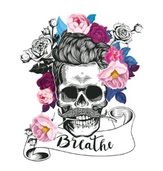 Fashion skull with the roses vector