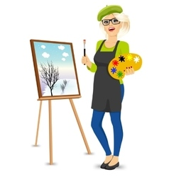 female painter artist holding palette and brush vector image