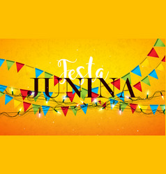 festa junina with party flags light vector image