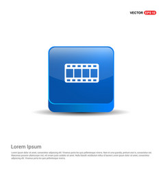 Film strip icon - 3d blue button vector