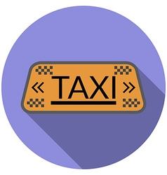 Flat design taxi icon with long shadow isolated vector image