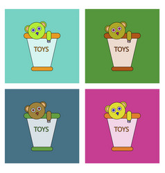 Flat icon design collection teddy bear in bucket vector