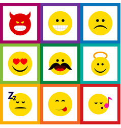Flat icon emoji set of sad asleep angel and vector