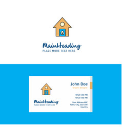 flat secure house logo and visiting card template vector image