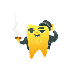 Funny golden tooth adult character in coat and hat vector