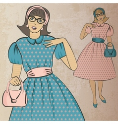 Girl with handbag in retro style vector