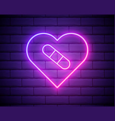 glowing neon line healed broken heart or divorce vector image