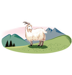Goat in a mountain landscape vector