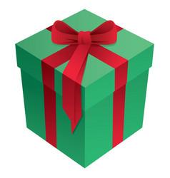Green and red christmas holiday gift box vector