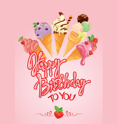 greeting card with ice cream cones on pink vector image