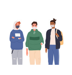 group diverse modern teenagers wearing vector image