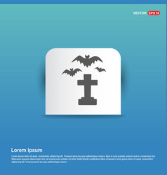 halloween grave with spider icon - blue sticker vector image