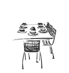Hand drawn wares dinner serving table and vector