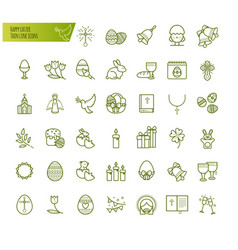 happy easter thin line icons set modern vector image