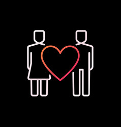 heart with man and woman colorful linear vector image