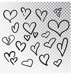 Hearts hand drawn set isolated design elements vector