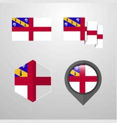 Herm flag design set vector