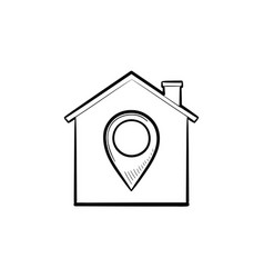 house with navigation mark hand drawn outline vector image