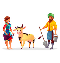 Indian farmers and cattle cow vector