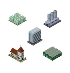 Isometric architecture set of warehouse water vector