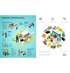 isometric banking process infographic concept vector image