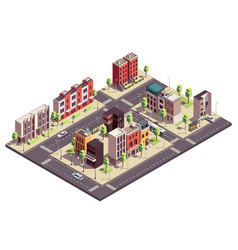 isometric city block composition vector image