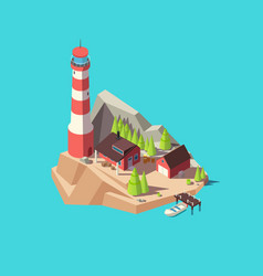 isometric lighthouse island with tower and house vector image