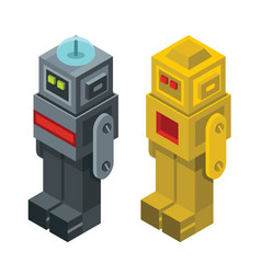 isometric robots isolated on white background vector image