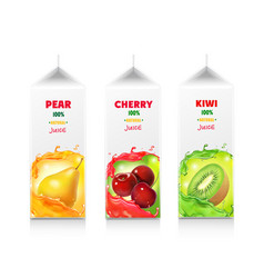 juice package box set cherry pear and kiwi vector image