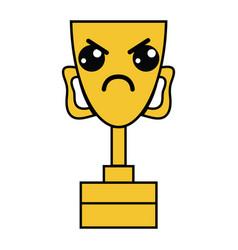 kawaii cute angry prize cup vector image