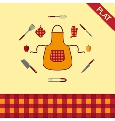 Kitchenware set icons and seamless pattern vector