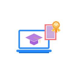 laptop with academic cap education reward vector image