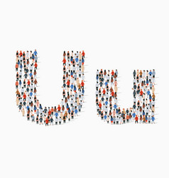 Large group people in letter u form vector