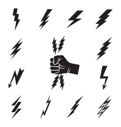 Lightning bolt icons isolated vector