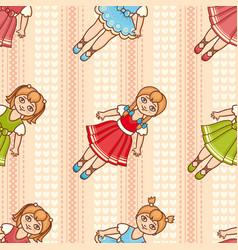 Little ballerina cartoon style seamless pattern vector