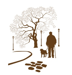 Loneliness a walk in park man with a dog vector