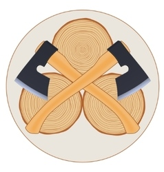 Lumberjack logo with axes vector image
