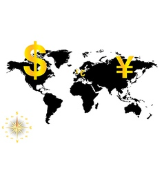 Major currencies on world map - business vector