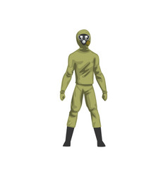 Man in khaki protective suit and gas mask vector