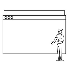 Man using template webpage with pulse line vector